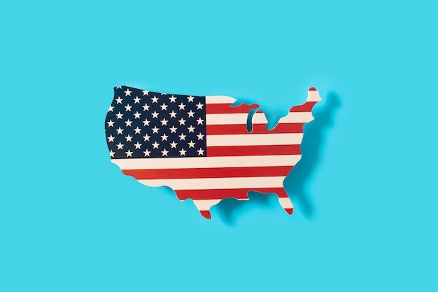 미국지도에 미국 국기