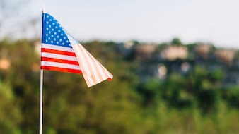 American flag on blurred background
