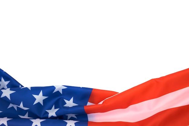 현충일과 독립기념일을 위한 복사 공간이 있는 배경의 미국 국기