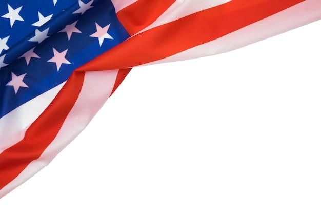 Американский флаг на белом фоне с copyspace для текста