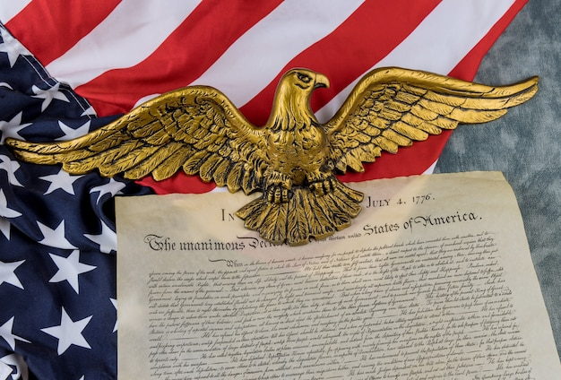 American flag of vintage document detail the united states declaration of independence