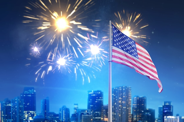 American flag waving in the air with fireworks and night scene view. fourth of july concept