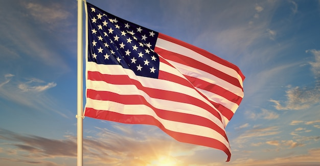 푸른 하늘에 물결 치는 미국 국기