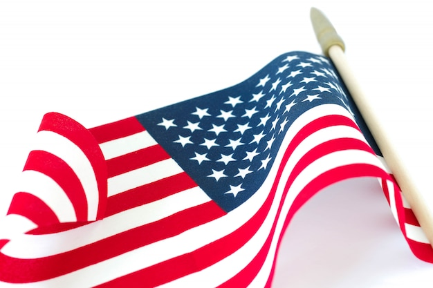 American flag on white background. memorial day or 4th of july concept.