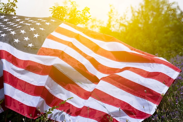 American flag with sunlight effect. background. independence day concept.