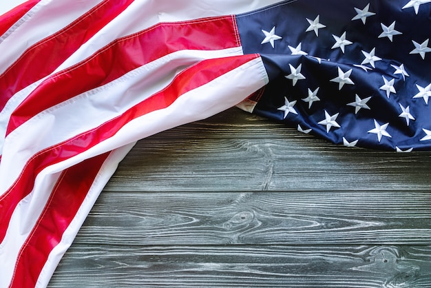 American flag on wooden background for martin luther king day anniversary