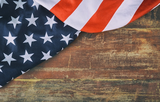 American flag on wooden background memorial day