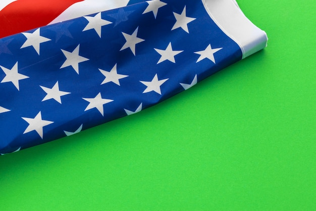 American flags against a green background