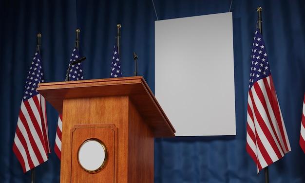 私たちの選挙のためのアメリカの国旗と表彰台