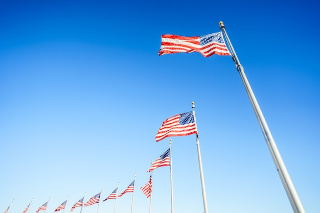 American flags on flagpoles on blue sky