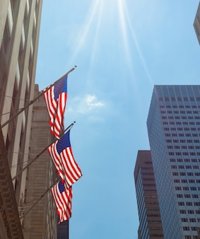 American flags in new york city