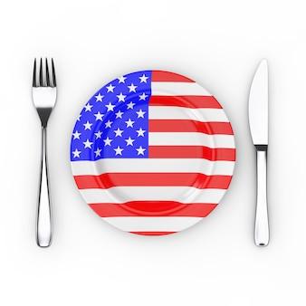 Американская еда или концепция кухни. вилка, нож и тарелка с флагом сша на белом фоне. 3d рендеринг