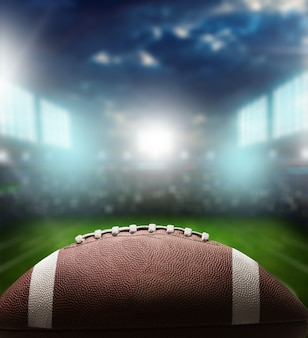 アメリカンフットボールのボール、クローズアップビュー