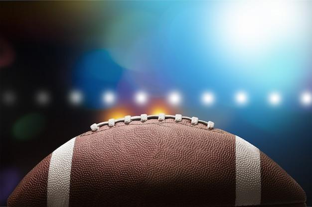 アメリカンフットボールのボール、クローズアップビュー Premium写真