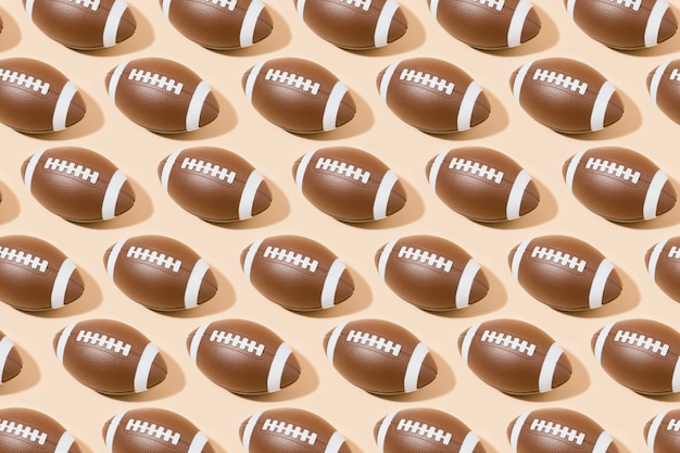 American football ball pattern on brown background. sport and competition. 3d illustration