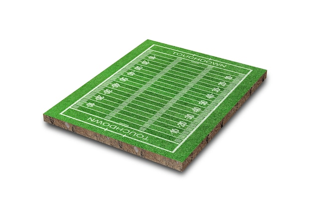 Поле для американского футбола с рисунком линии, изолированным на белом