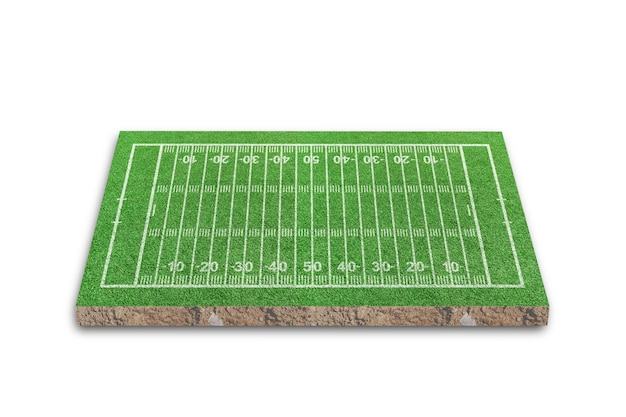 American football field with line pattern isolated on white