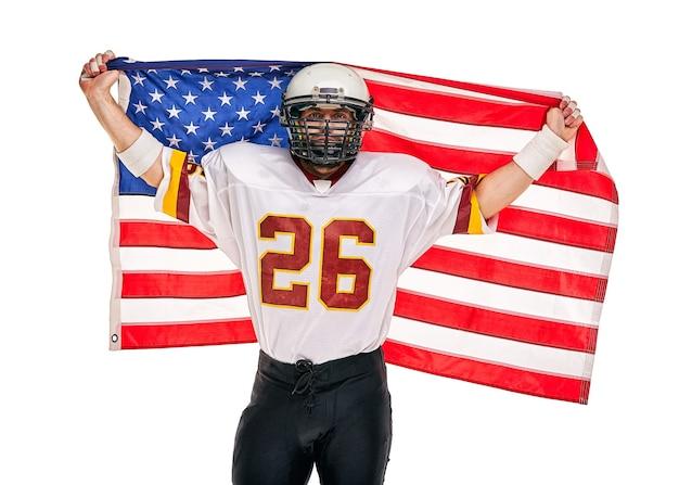 アメリカンフットボール選手のクローズアップの肖像画