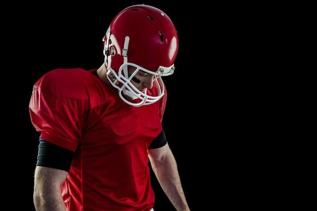 American football player focusing