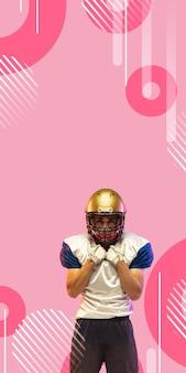 Игрок в американский футбол изолирован на розовом фоне студии в геометрическом стиле, вертикальный флаер