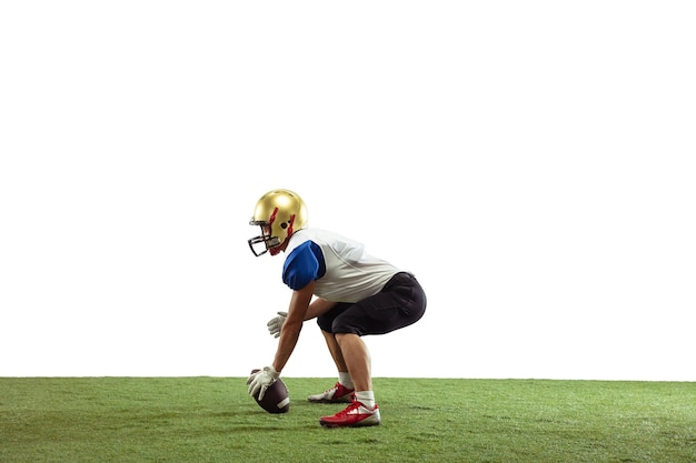 American football player isolated on white studio surface with copyspace professional sportsman