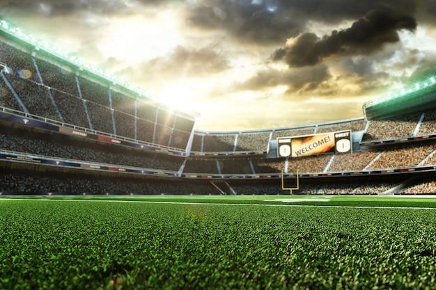 アメリカンフットボールスタジアム、3dレンダリング