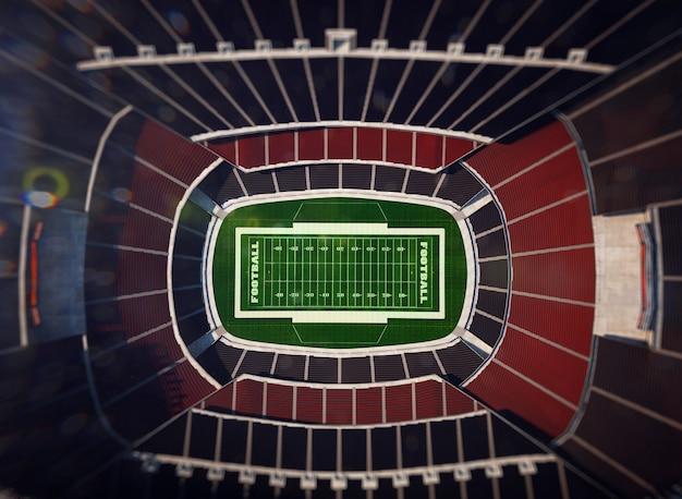 3dレンダリングの上からのアメリカンフットボールスタジアムの眺め Premium写真