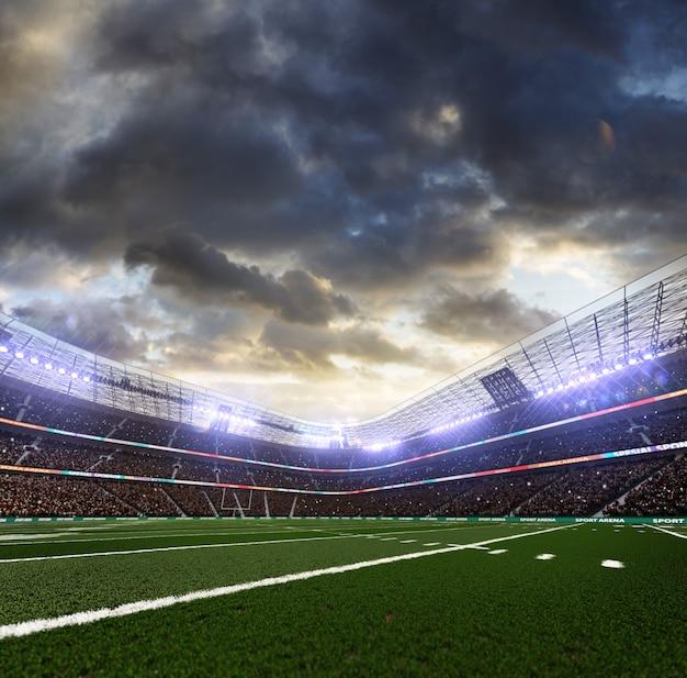 スポットライトのあるアメリカンフットボールスタジアム