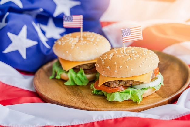 American hamburger with america flag