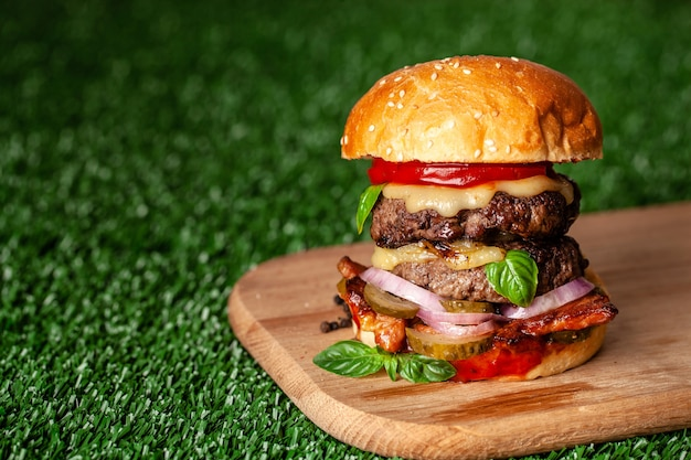 American home burger with two juicy cutlets.