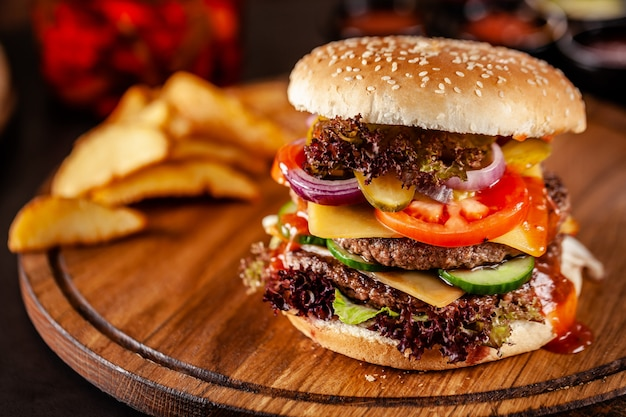 American homemade burger with a double meat cutlet.