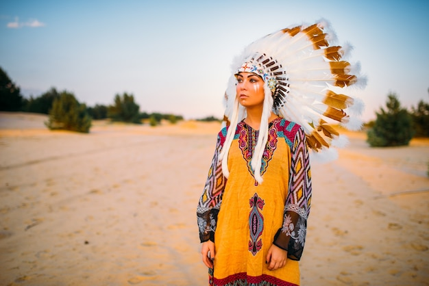 American indian girl in traditional costume