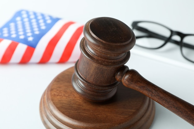 American law concept with judge gavel on white background