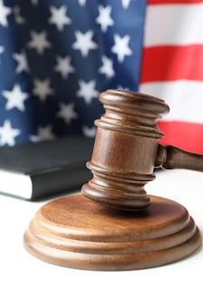 American law concept with judge gavel on white table