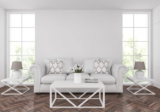 American living room with empty blank wall, artwork display