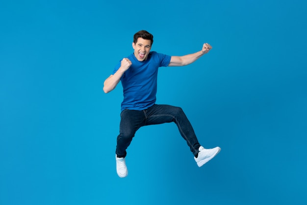 American man jumping and enyoying his success