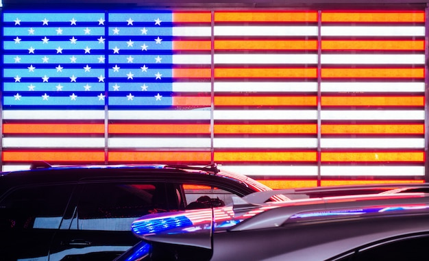 American neon flag in new york city