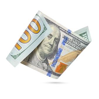 Американская стодолларовая банкнота, изолированные на белом фоне.