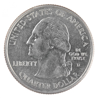American one quarter dollar coin isolated