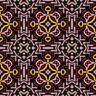 아메리칸 패턴. 원활한 보헤미안 바닥. 아프리카 모로코 직물. 레드 그린 브라운 패션 일러스트입니다. 화려한 추상 장식입니다. 아메리칸 패턴.