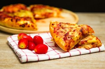 American pizza with pepperoni .