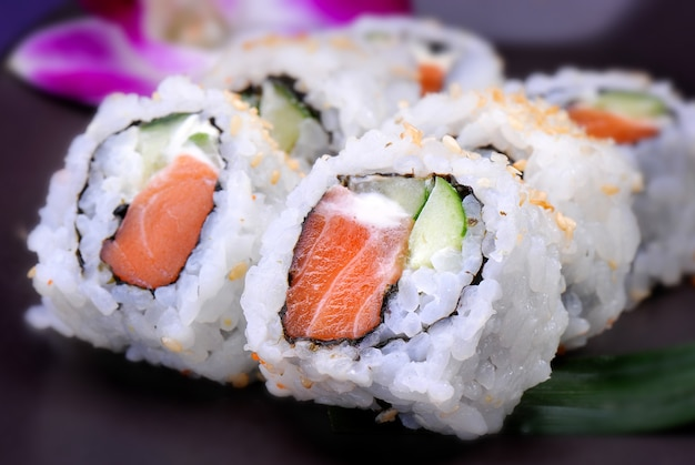American roll with salmon and avocado