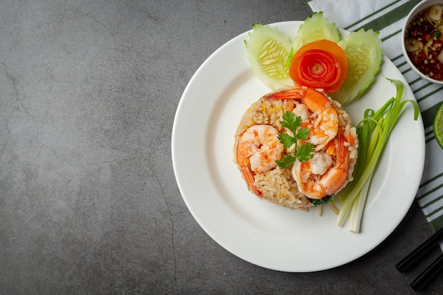 American shrimp fried rice served with chili fish sauce thai food.