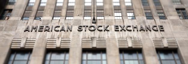 Американская фондовая биржа amex в нижнем манхэттене, нью-йорк.