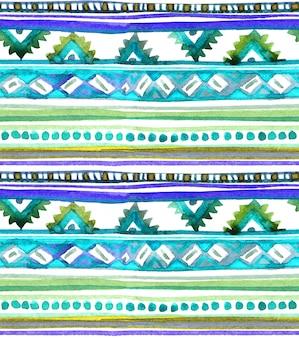 アメリカの部族のデザイン。部族のパターンとのシームレスな背景。手描きの水彩画