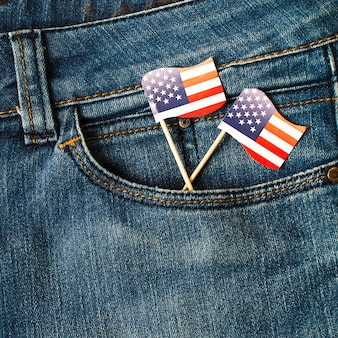 American usa flag props in the jeans pocket