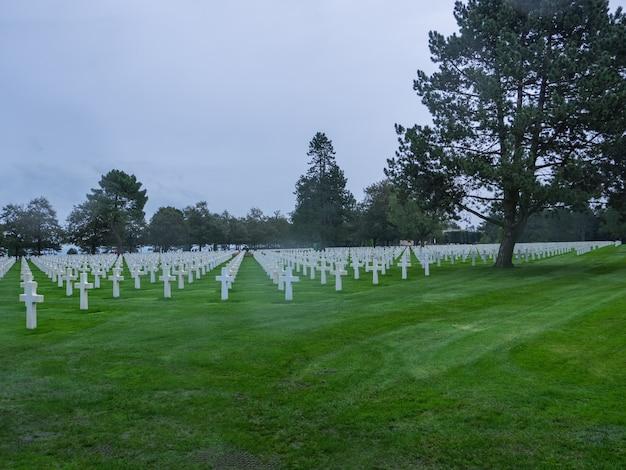 American war cemetery at omaha beach normandy collevillesurmer
