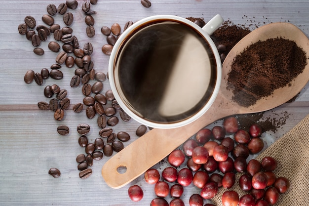 Americano coffee and coffee beans