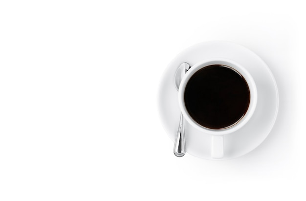 Americano or espresso coffee cup isolated on white background
