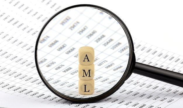 Aml wooden cubes on chart background , look through a magnifier